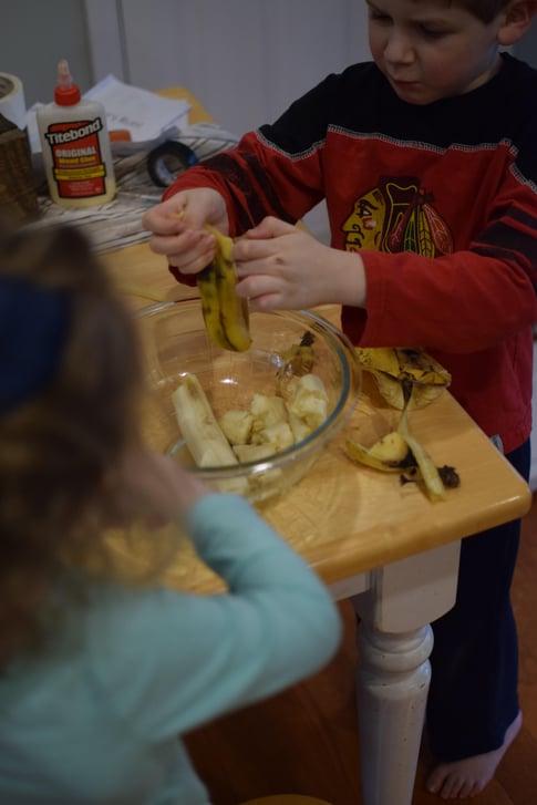 Two Kids Making Banana Bread